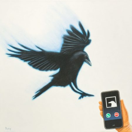 crow, smartphone